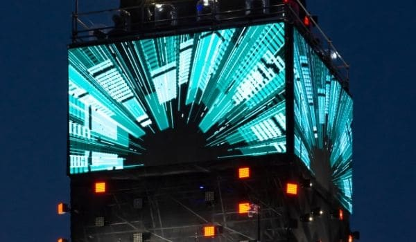an outdoor led screen on a building