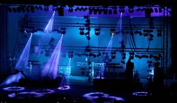 a stage that has lights
